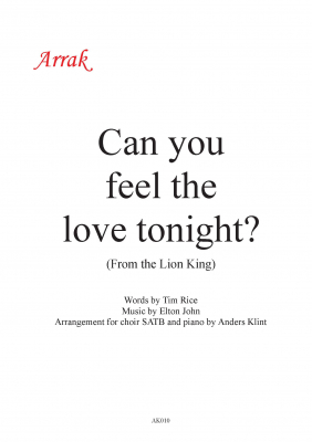 Can you feel the love tonight i gruppen Körnoter - tryckta hos JaKe (Arrak) musik (AK010)